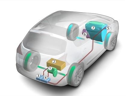 Peugeot - hybridní pohonný systém - schéma