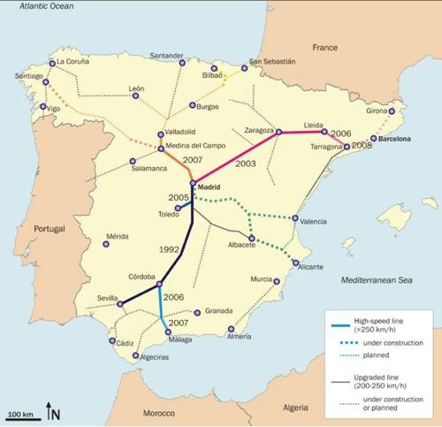 vysokorychlostní tratě - Španělsko