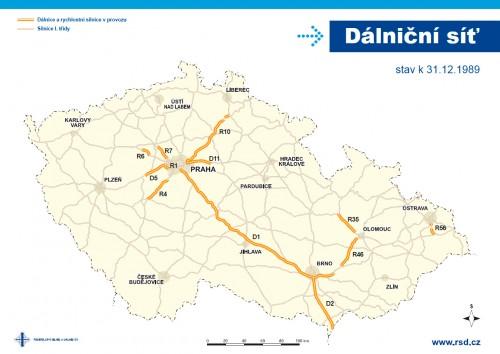 dálniční síť 1989