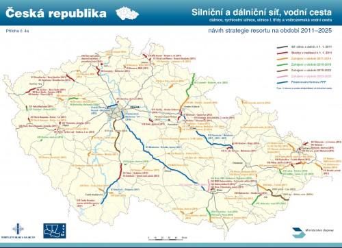 mapa silnice a dálnice Ministerstvo dopravy 2025