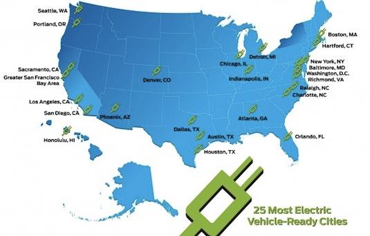 elektromobily Ford mapa spojených států elektromobilita města