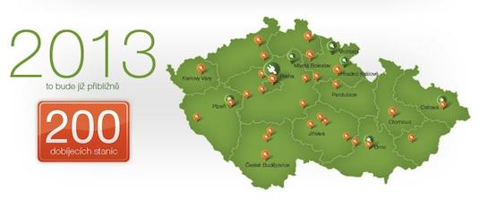 Česká republika dobíjecí stanice ČEZ