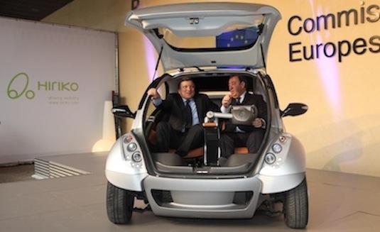 auto elektromobil Hiriko Jose Manuel Barroso