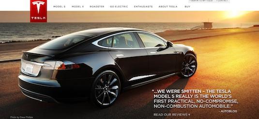 auto elektromobil Tesla Model S web