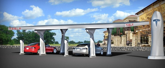auto elektromobil Tesla Motors supercharger super-dobíječka stanice dobíjení elektromobilů