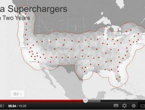 auto elektromobil Tesla Motors superchargers - super-dobíječky dobíjecí stanice USA mapa