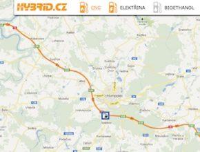 auto na plyn mapa CNG plnící stanice E.ON Humpolec