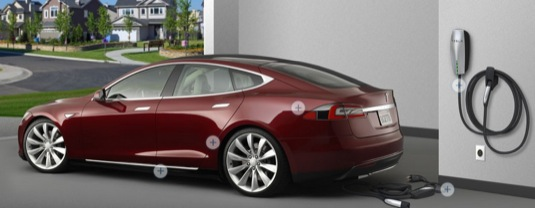 auto dobíjení elektromobilu Tesla Model S domácí dobíjecí stanice garáž
