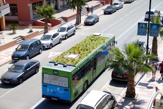 auto autobus se zahradou na střeše