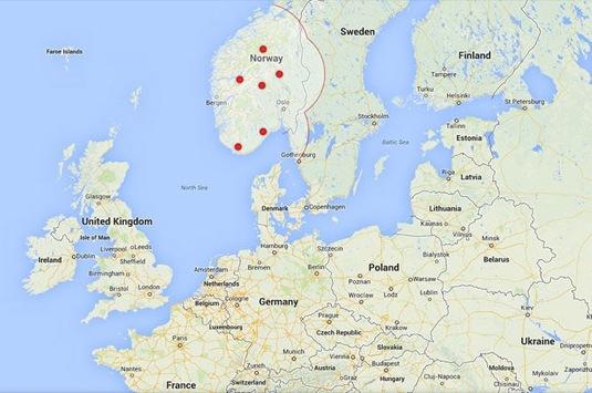 auto mapa Evropa Norsko Tesla Supercharger dobíjecí stanice