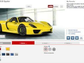 auto Porsche 918 Spyder plug-in hybrid online konfigurátor