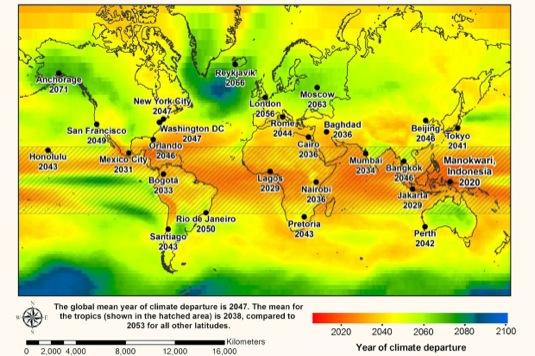 auto mapa globálních klimatických změn