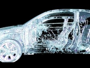 Trojrozměrný počítačový model bouraného auta