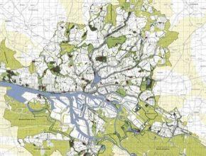 auto Německo Hamburk zelená síť bez aut