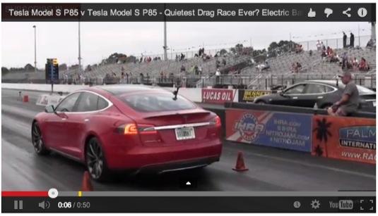auto elektromobil Tesla Model S P85 dragster závody