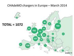 auto mapa evropy chademo rychlodobíjecí stanice
