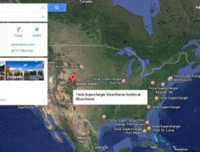 auto mapa Google rychlo-dobíjecí stanice Tesla Supercharger USA