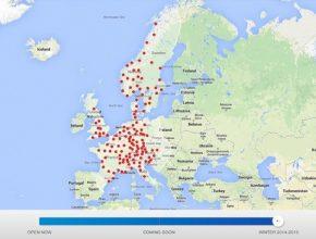 auto Tesla Motors mapa sítě dobíjecích stanic Supercharger Evropa