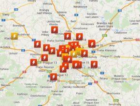 Mapa dobíjecích stanic pro elektromobily Česká republika