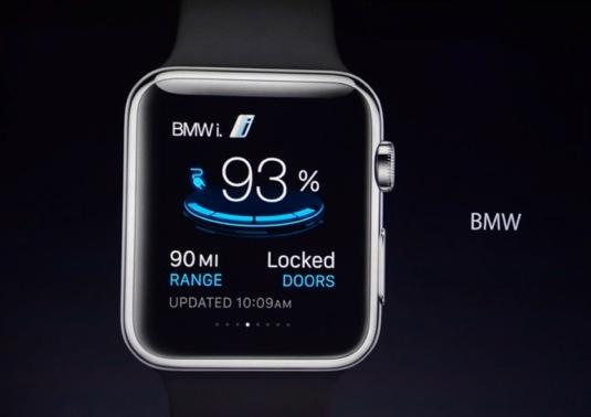 auto Apple Watch chytré hodinky BMW i