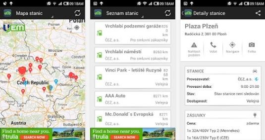 Nová aplikace UEmap pro chytré telefony iPhone a Android ukáže českým elektromobilistům nejbližší dobíjecí stanice pro jejich elektromobil
