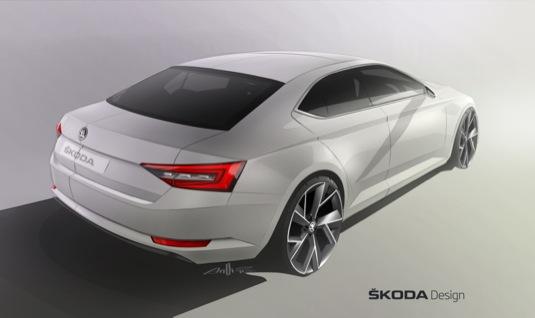 auto Nová Škoda Superb představuje revoluci známého tvarosloví značky. Nová designová skica ukazuje expresivně pojatou limuzínu, kvalitní a plnou vášně. Design je propracovaný, elegantní, dynamický, svébytný, moderní a expresivní.