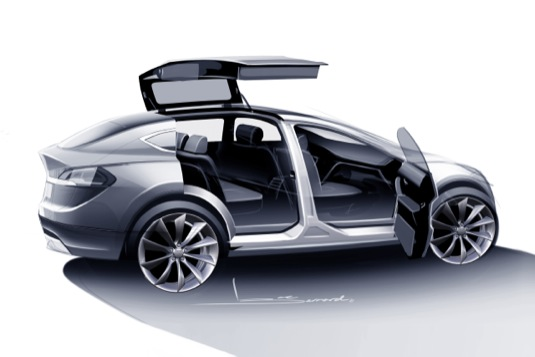 auto elektromobil Tesla Model X v nákresu