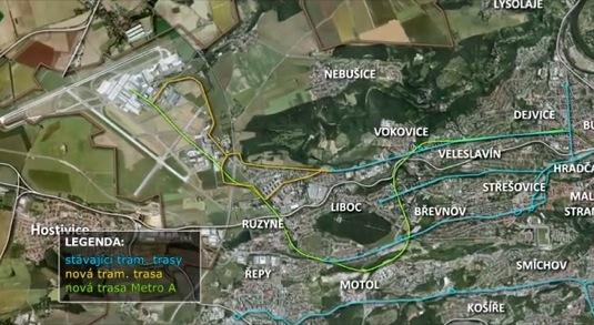 Mapa uvažovaných tras spojení centra Prahy s letištěm