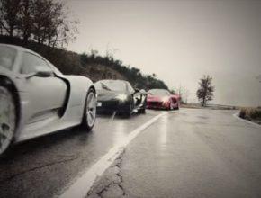 auto Top Gear video hybrid supersport McLaren P1, Porsche 918 Spyder a Ferrari LaFerrari