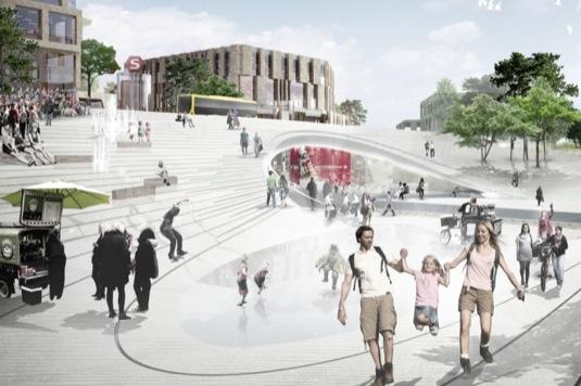 Budoucí centrální železniční stanice rodícího se města Vinge v Dánsku.