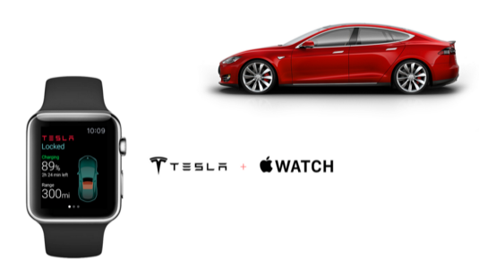 auto elektromobily Apple Watch chytré hodinky smartwatch auto elektromobil Tesla Model S