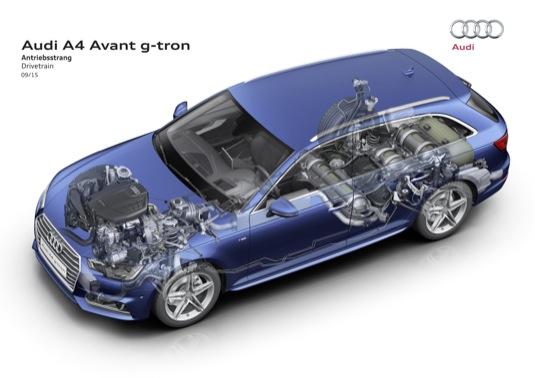 Nové Audi A4 Avant nabízí alternativní pohon na zemní plyn. Motor 2.0 TFSI sdvoupalivovým systémem pracuje sinovativním spalovacím procesem.