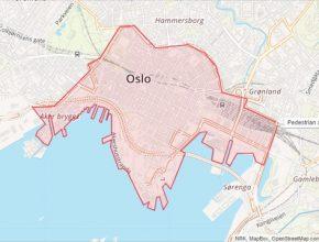 Mapa Osla, hlavního města Norska, kam bude autům zakázán vjezd