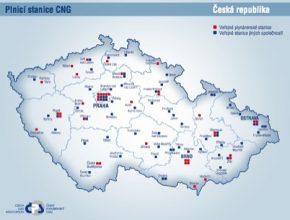 Mapa České republiky ukazuje rozložení CNG stanic