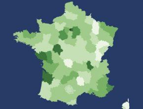 auto mapa Francie hustota sítě nabíjecích stanic
