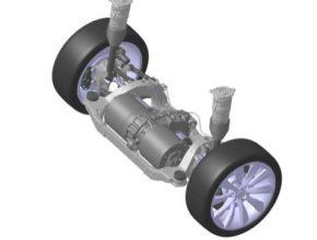 auto zadní náprava elektromobilu Tesla Model S s elektromotorem