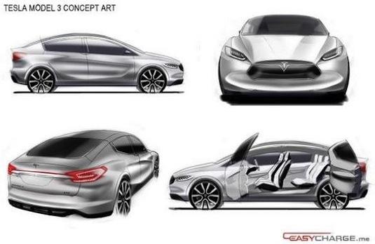 auto elektromobily Tesla Model 3 možná podoba levného elektromobilu