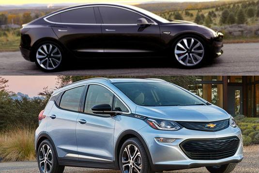 auto elektromobily Tesla Model 3 a Chevrolet Bolt
