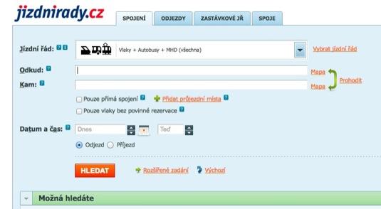 auto jizdnirady.cz IDOS systém pro plánování cest