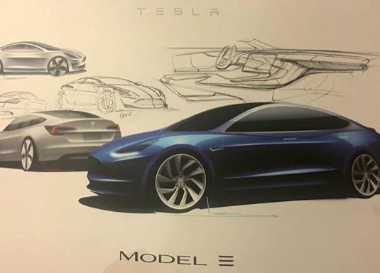 auto elektromobil Tesla Model 3 nákresy