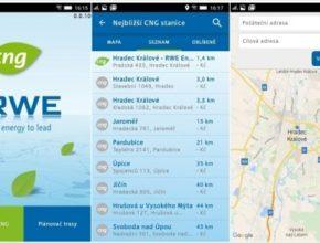 auto RWE CNG aplikace stanice mapa
