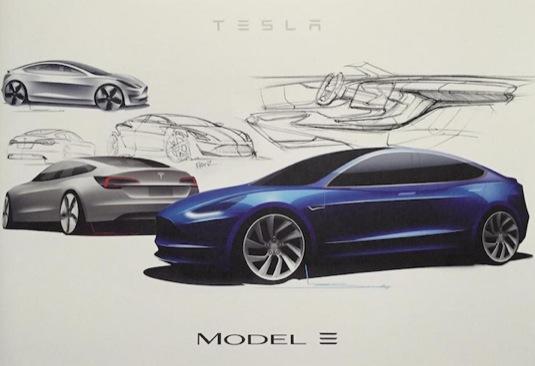 auto nákres elektromobilu Tesla Model 3