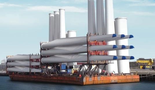 listy větrných pobřežních elektráren