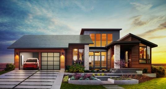 auto Tesla rodinný dům solární šindele střecha elektromobil úložné zařízení Baterie Powerwall