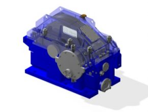 3D model prototypu převodovky. V popředí je patrný mechanismus pro simulaci zatížení ložiska