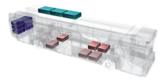 Ukázka návrhu rozmístění modulů trakční baterie v šasi 12m elektrobusu.