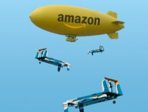 auto Amazon létající zásobování vzducholoď drony