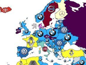 auto nejvyhledávanější automobilové značky v Evropě mapa