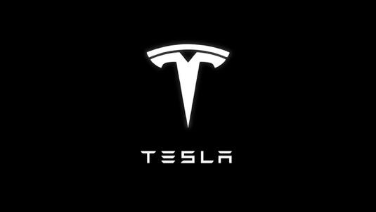 auto Tesla logo černá bílá