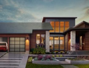 auto dům elektromobil Tesla Model 3 střešní solární tašky